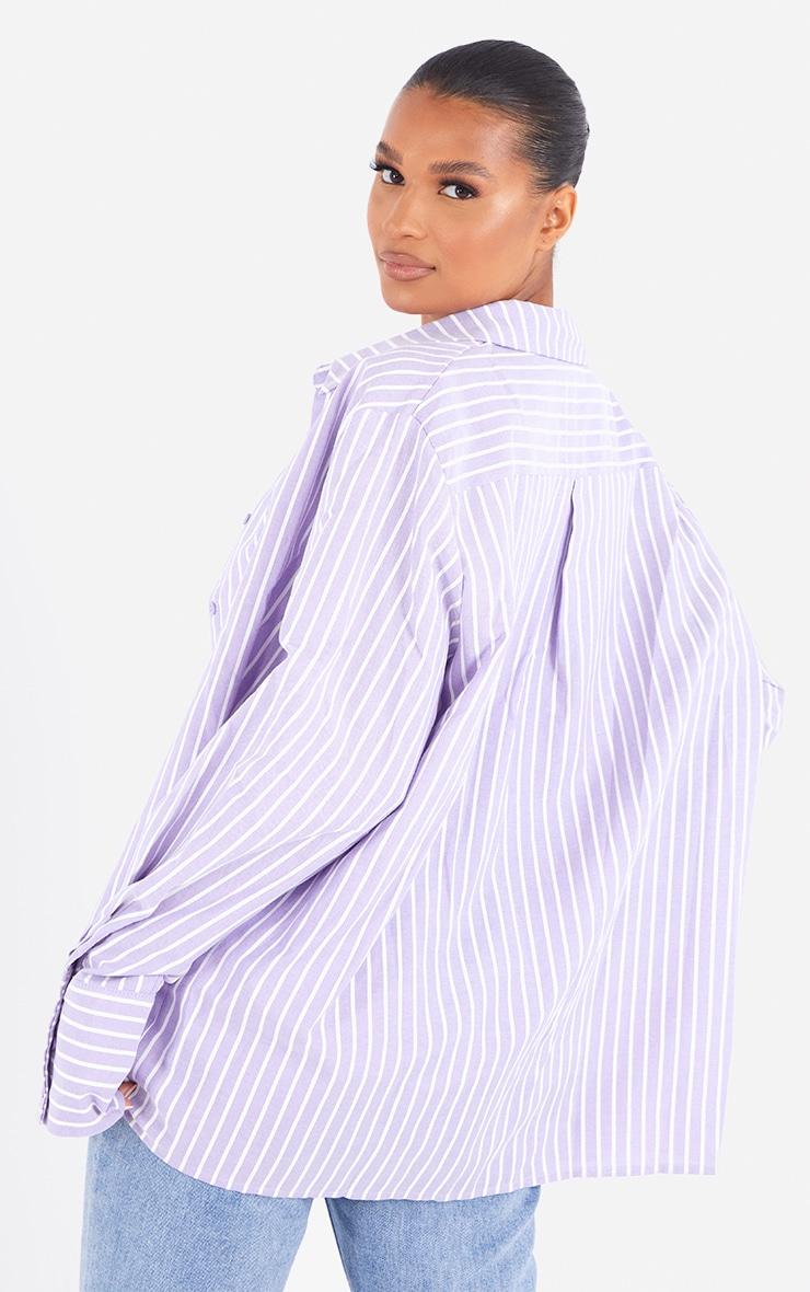 Lilac Oversized Pinstripe Cuff Shirt 2