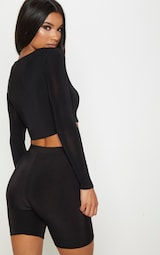 Black Second Skin Square Neck Long Sleeve Top 2