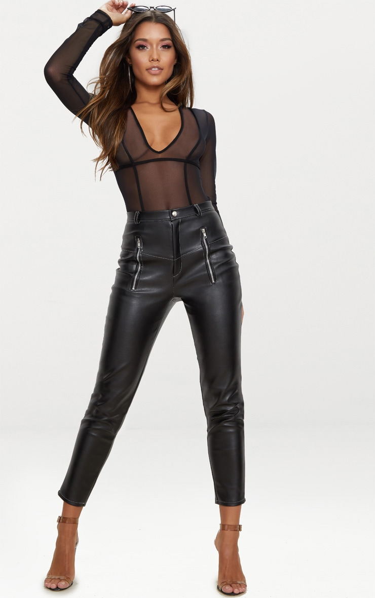 Black Faux Leather Contrast Stitch Pants 1