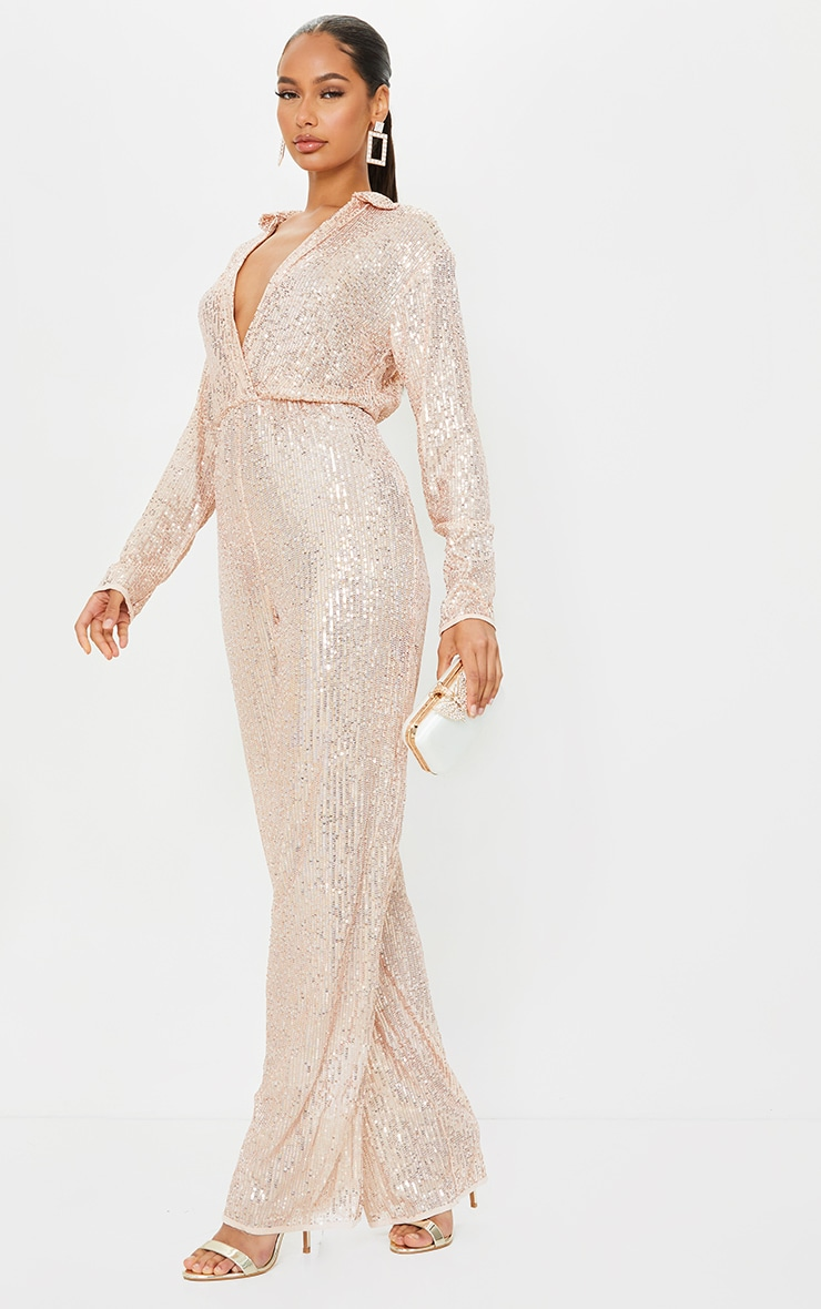 Rose Gold Sequin Collar Detail Long Sleeve Jumpsuit 1