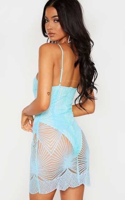 Sky Blue Glitter Diamond Strappy Plunge Bodycon Dress