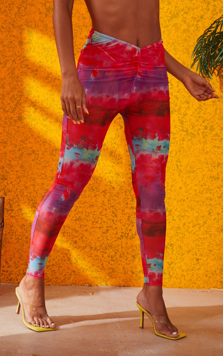 Multi Printed Ruched Front Leggings 3