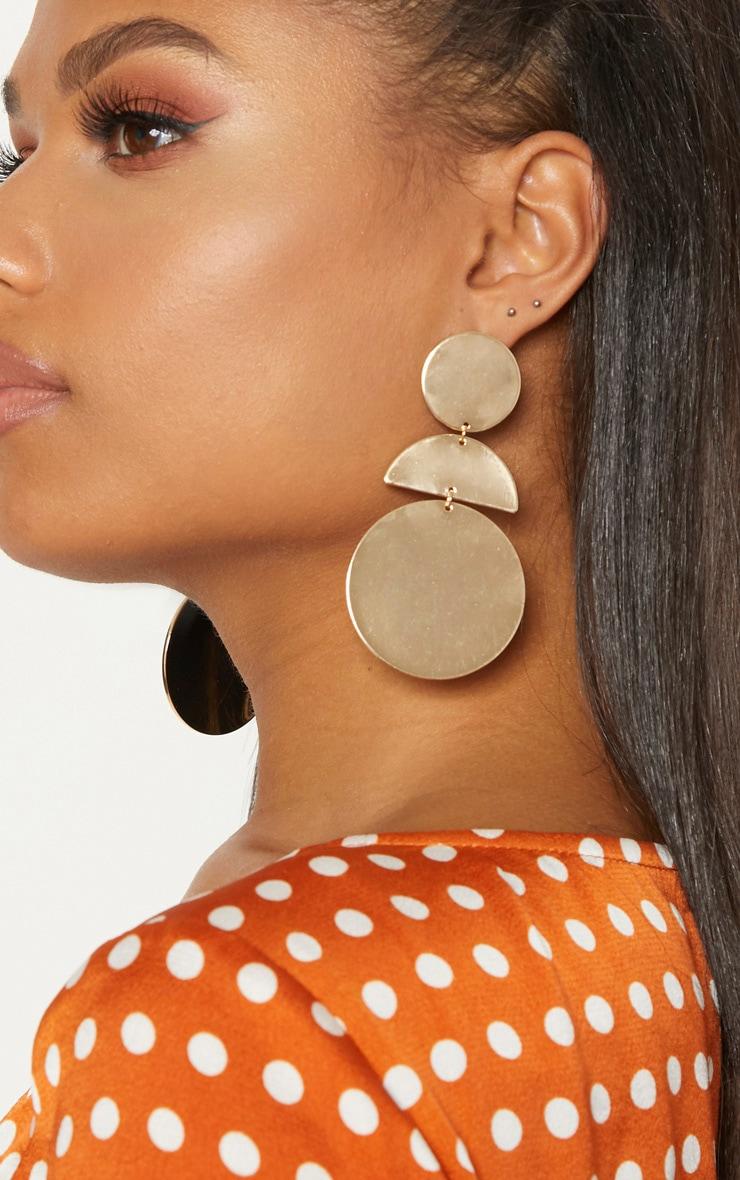Gold Disk Drop Earrings 2
