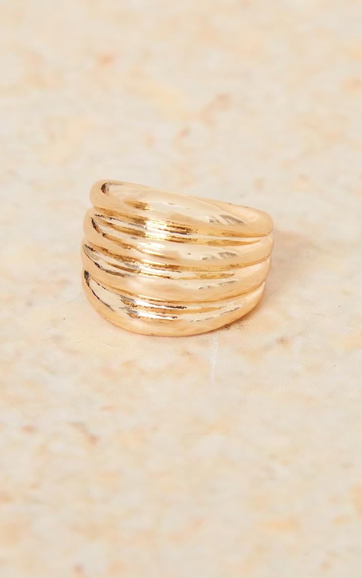 Gold Multi Ribbed Ring 3