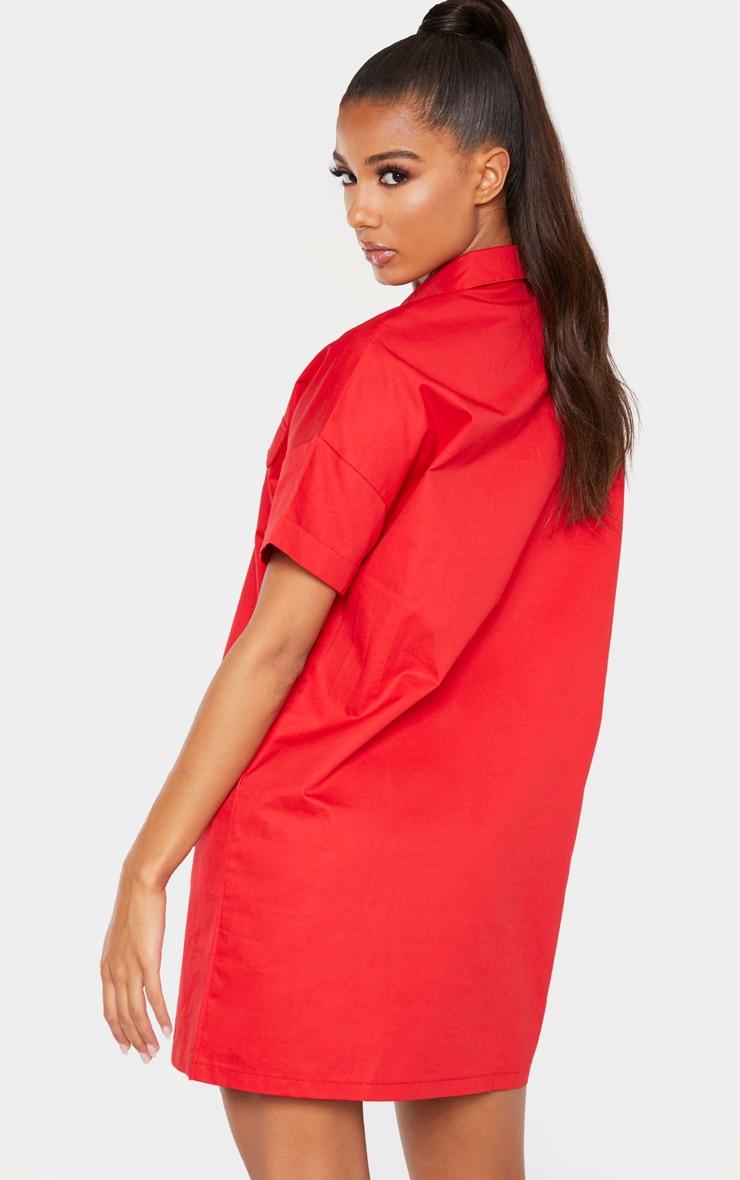 Red Oversized Utility Shirt Dress 2