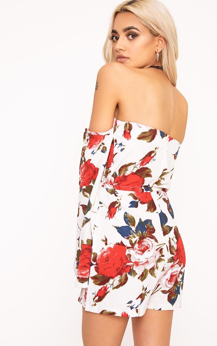 Keeli White Flower Print Bardot Romper 2