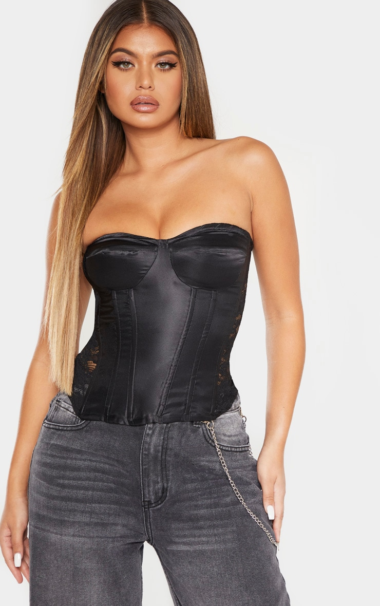 Black Satin Boned Lace Panel Corset Top 4