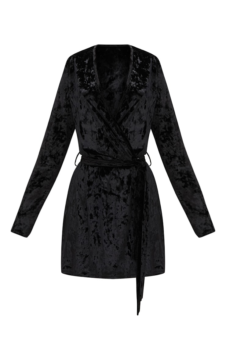 Black Velvet Wrap Over Shift Dress 3