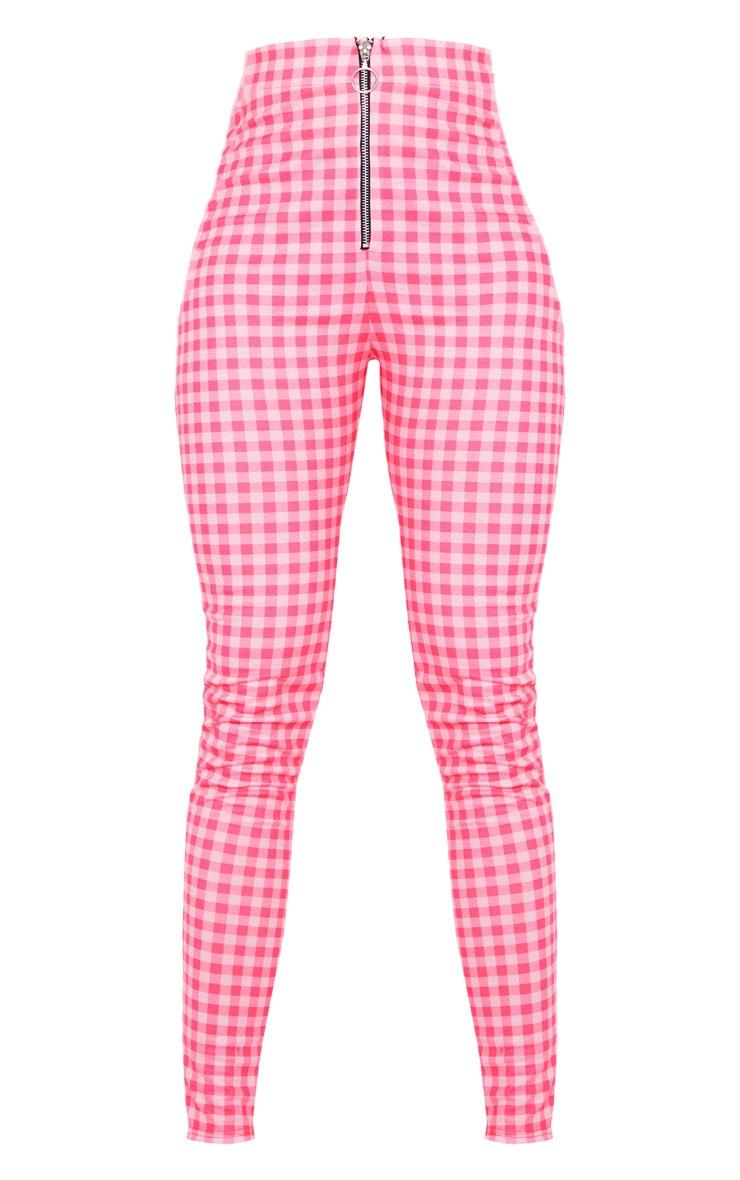 Legging zippé à carreaux rose clair à anneau 5