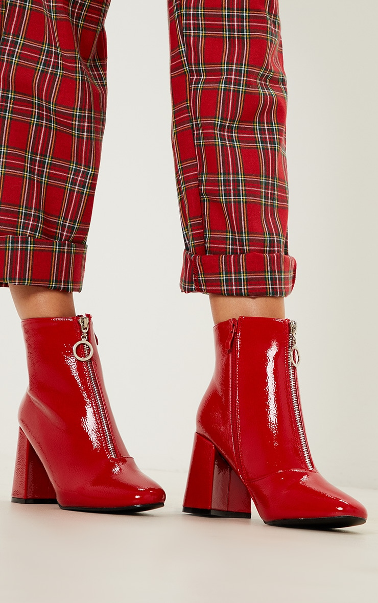 Red Ring Pull Zip Front Patent Ankle Boot