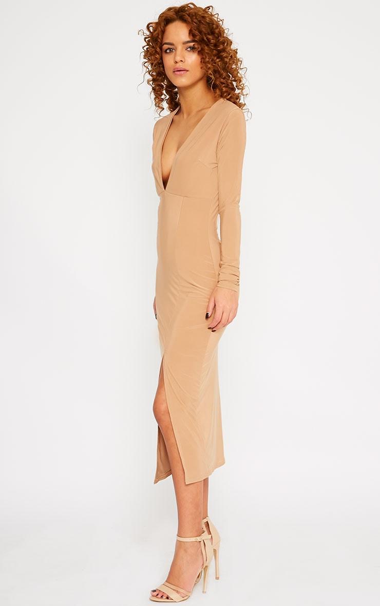 Christa Camel Slinky Plunge Split Front Midi Dress 4