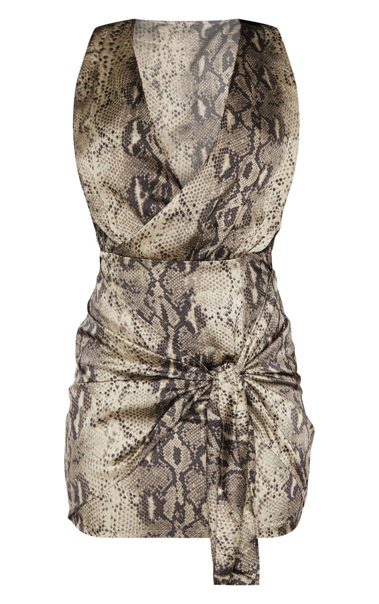 Multi Snake Print Sleeveless Drape Bodycon Dress 3