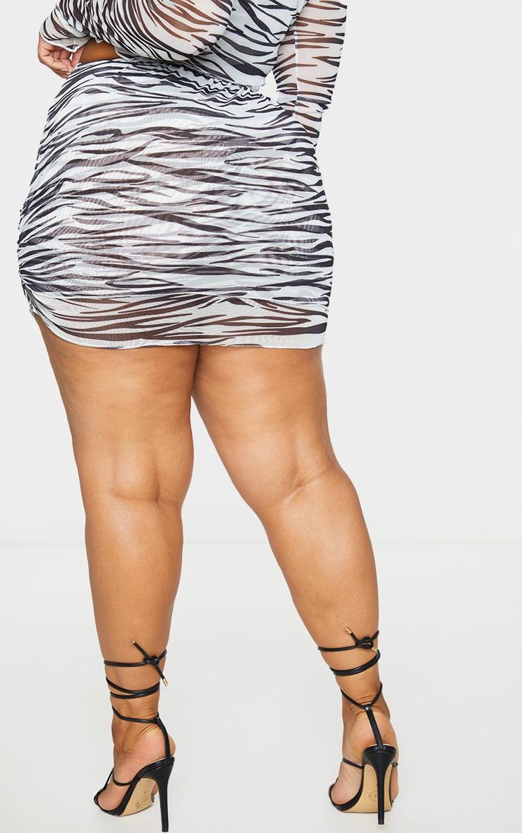Plus Black Zebra Print Mesh Layered Skirt 3