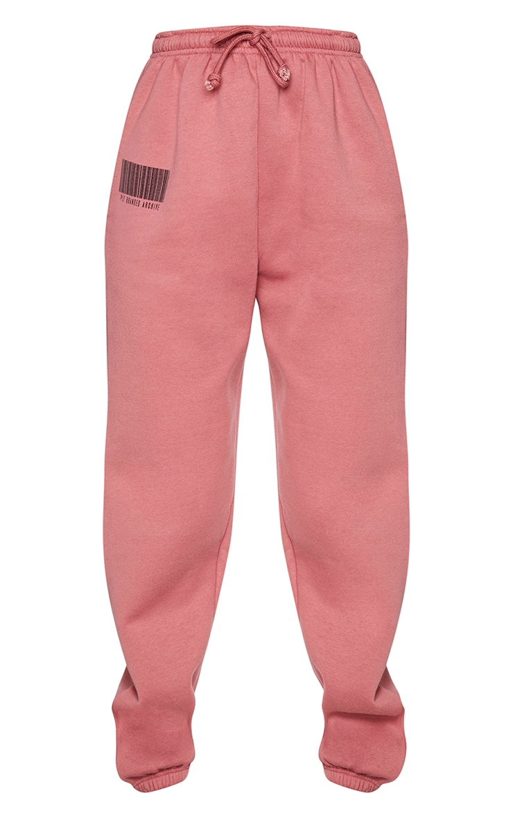 PRETTYLITTLETHING Dusty Rose Barcode Joggers 5