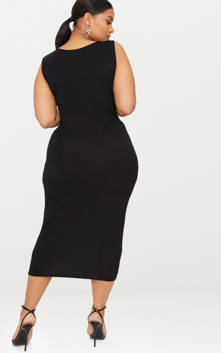 Plus Black Basic Jersey Midi Dress 2