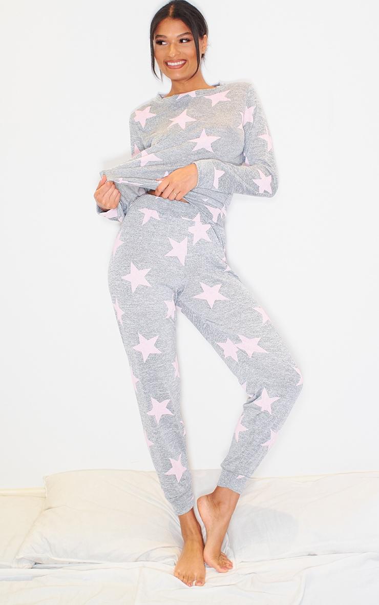 Grey and Pink Star Print Long PJ Set 1