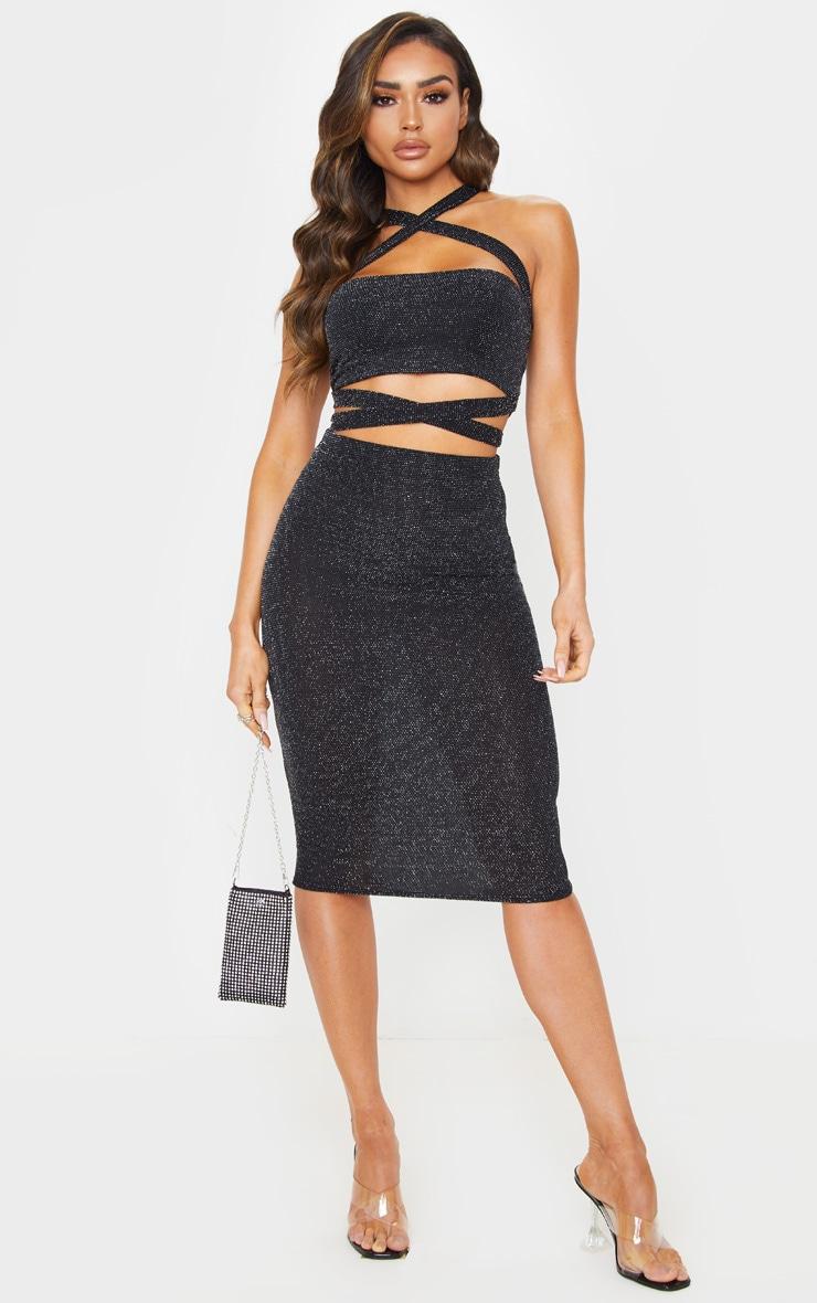 Black Textured Glitter Jersey Midi Skirt 1