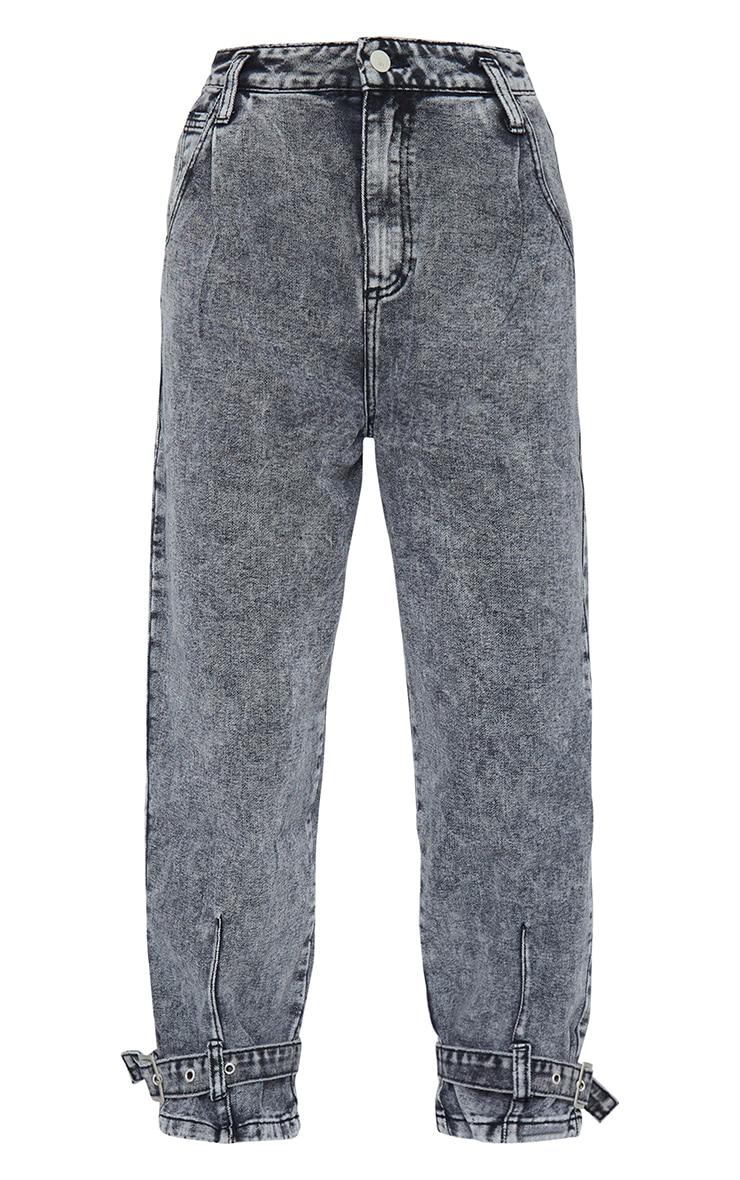 Washed Black Strap Detail Mom Jeans 4