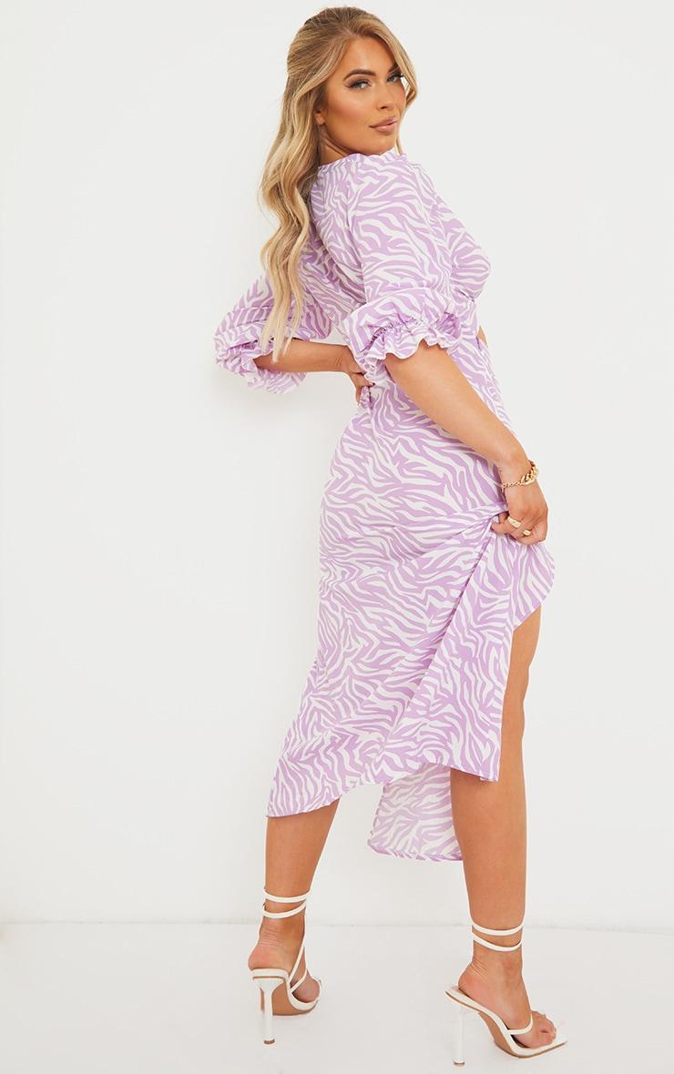 Lilac Zebra Print Tie Bust Split Detail Midi Dress 2