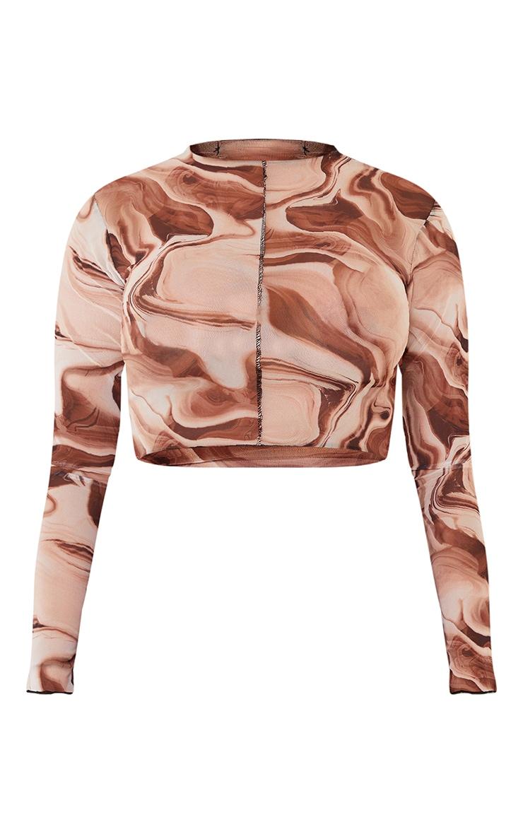 Shape Brown Tie Dye Sheer Mesh Seam Detail Crop Top 5