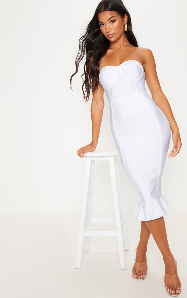 White Frill Hem Bandage Midi Dress 4