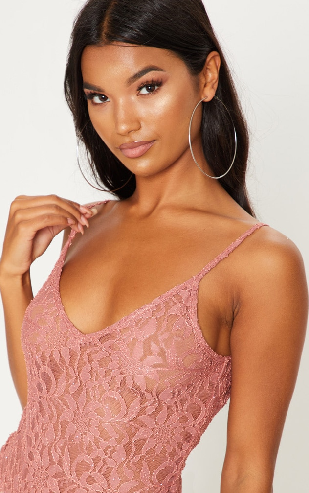 Pink Glitter Lace Bodysuit 6