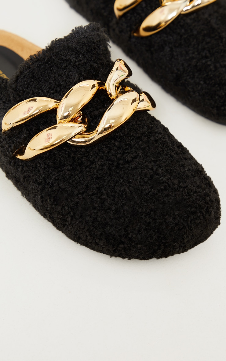 Black Faux Shearling Chunky Chain Mules 4