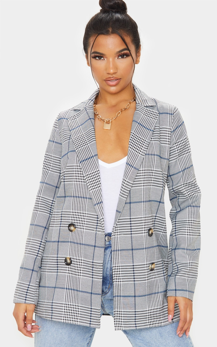 Grey Checked Button Woven Blazer   1