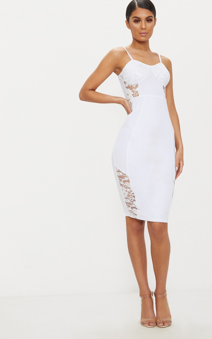White Strappy Lace Panel Midi Dress 1