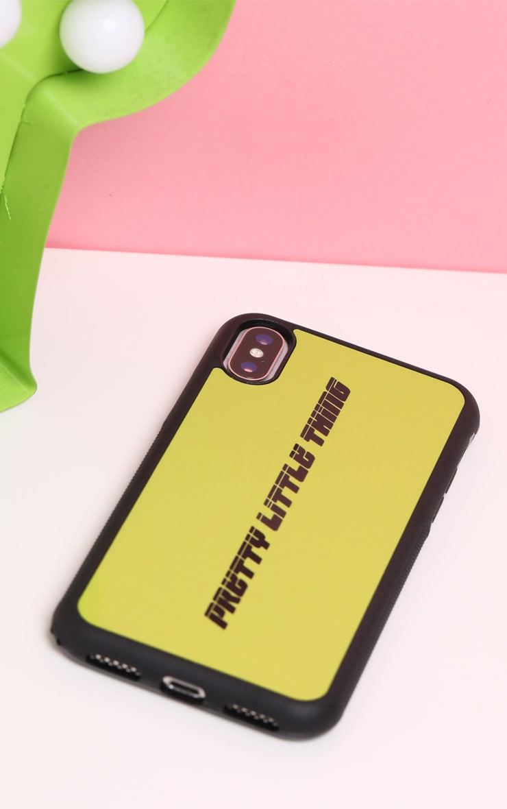PRETTYLITTLETHING Neon Lime Logo 10/X/XS iPhone Case  3