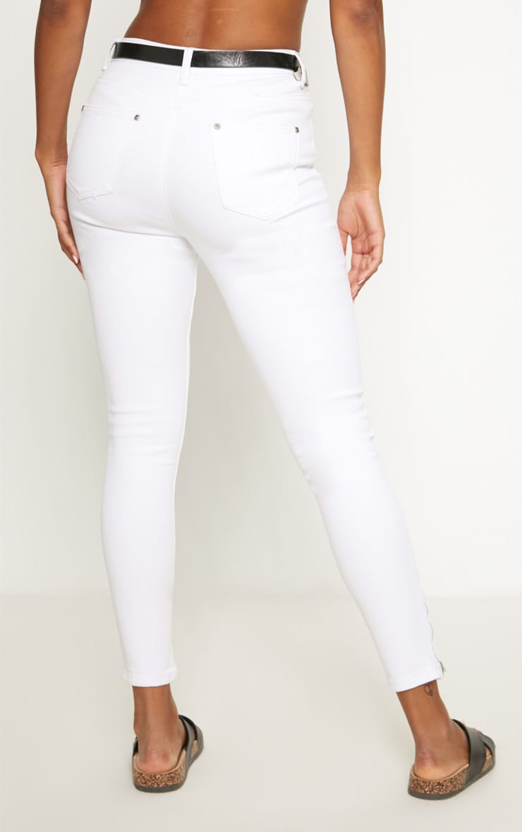 White High Waisted 5 Pocket Ankle Grazer Skinny Jean 4