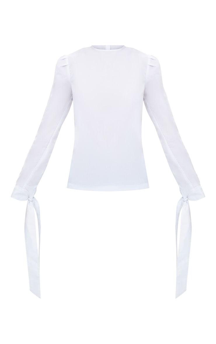 White Stripe Corset Back Tie Sleeve Shirt 3