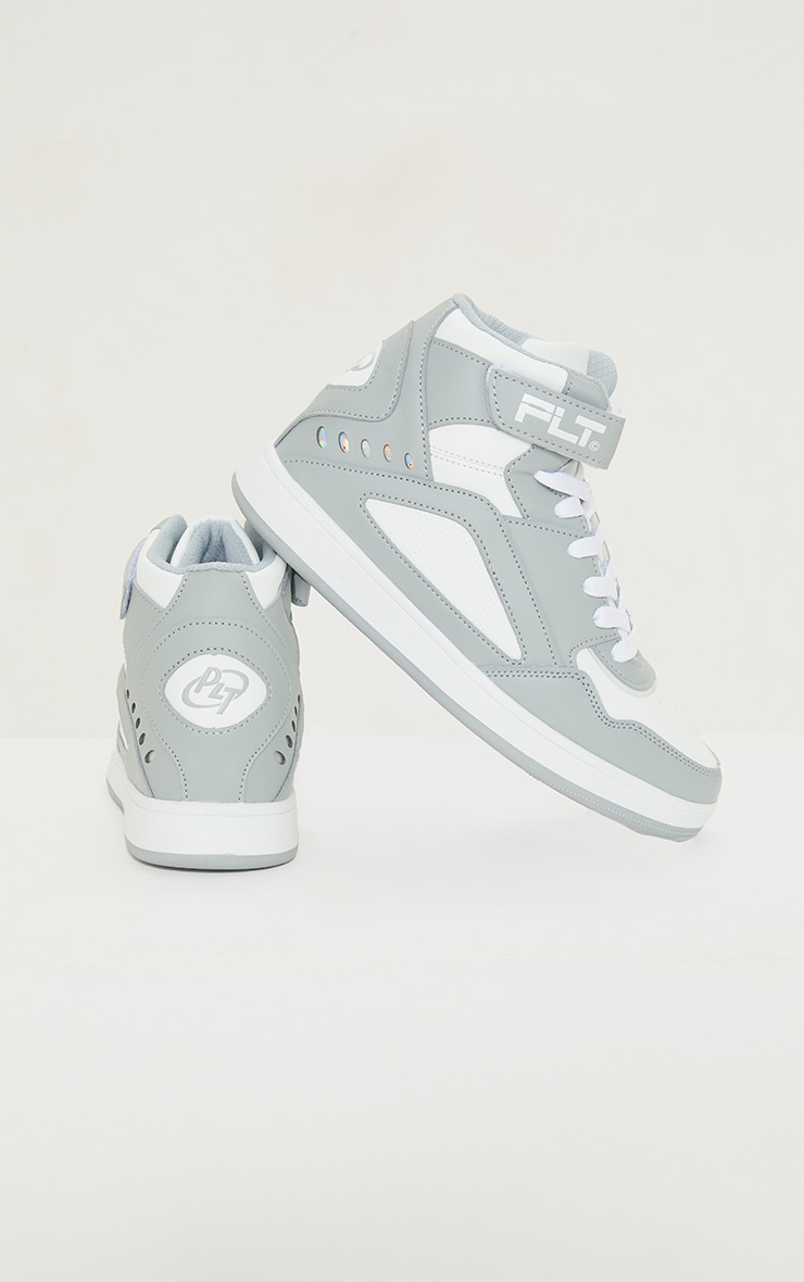 PRETTYLITTLETHING Grey Strap High Top Trainers 3