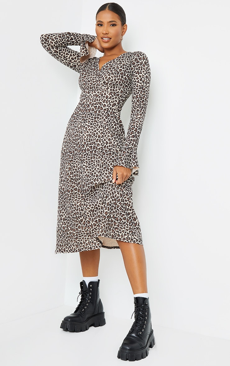 Tan Leopard Print Flare Sleeve Wrap Maxi Dress 1
