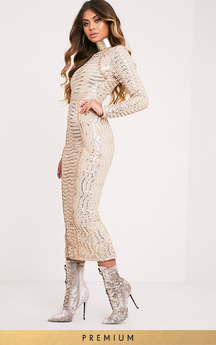 Kendika Gold Premium Sequin Midaxi Dress 2