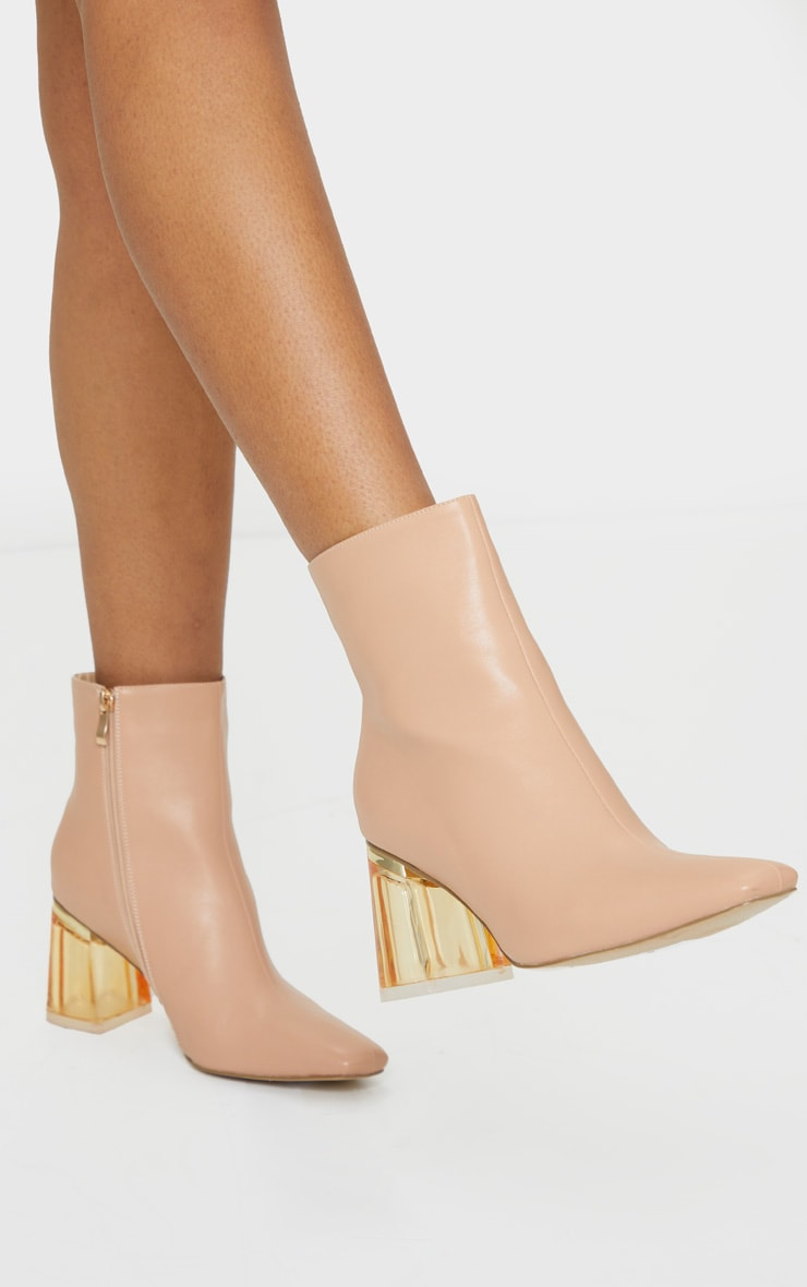 Nude Clear Block Heel Ankle Boot 1