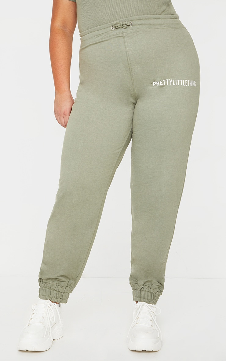 PRETTYLITTLETHING Plus Sage Khaki High Waisted Joggers 2