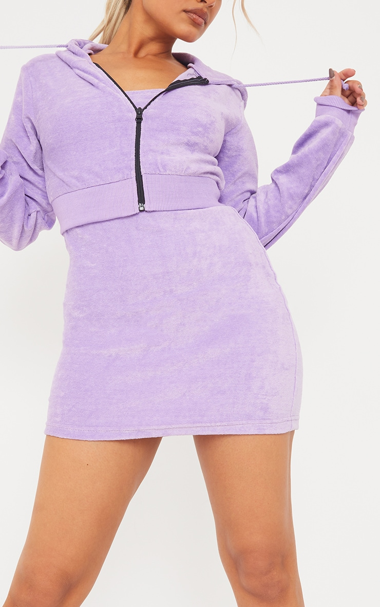 Petite Lilac Velour Cropped Hoodie 4