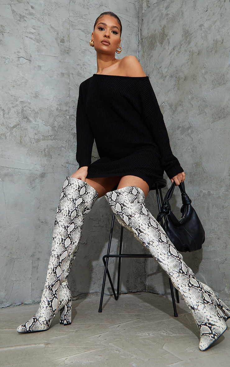 Black Off The Shoulder Knitted Jumper Dress 4