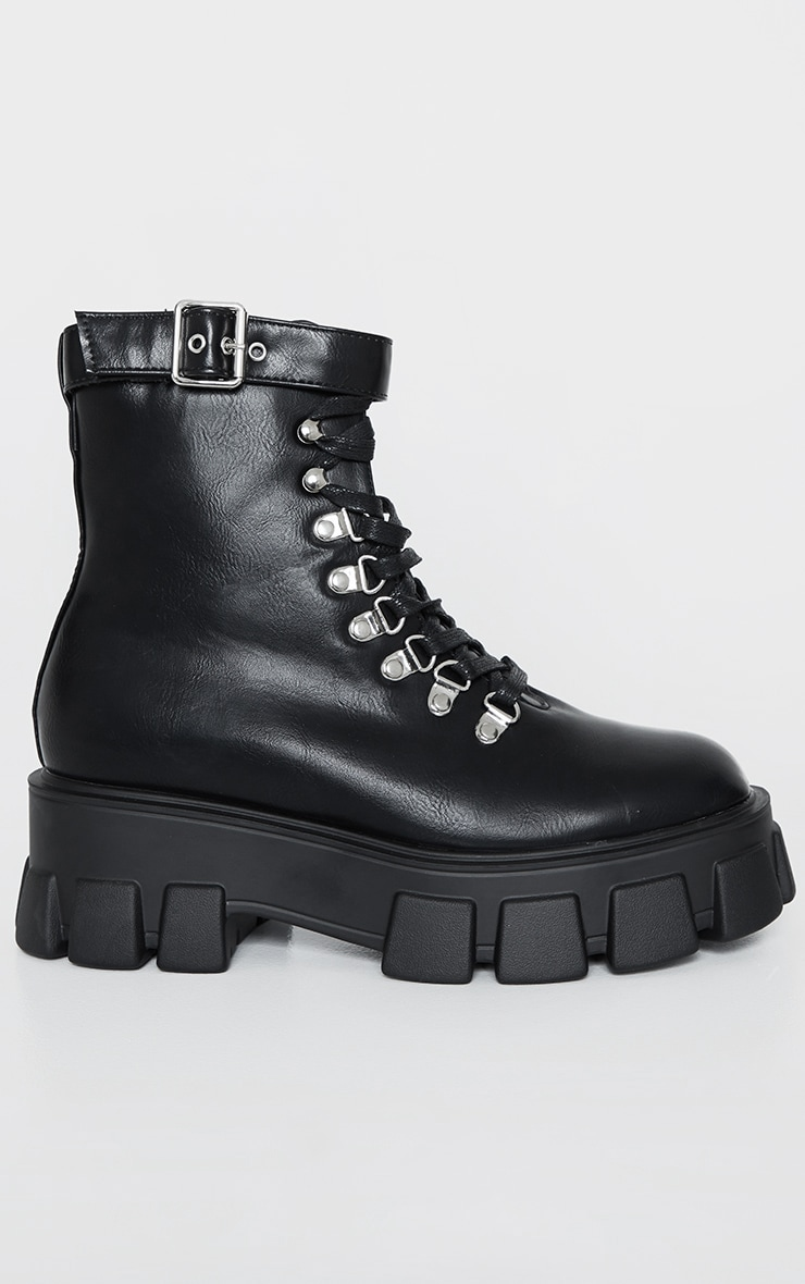 Black Heavy Sole Cleated Lace Up Hiker Boot 3