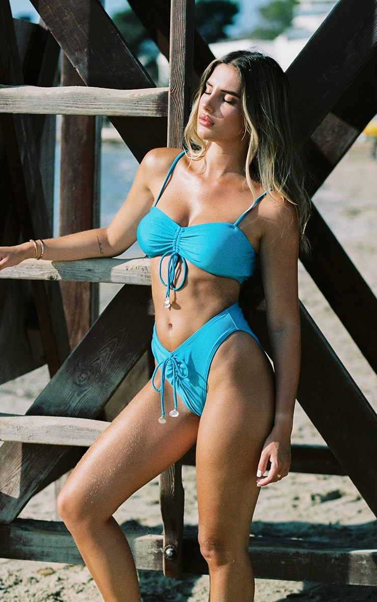 Bright Blue Ruched Middle Shell Trim Bikini Top