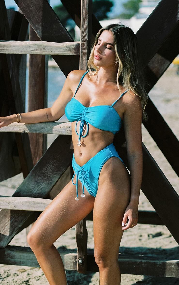 Bright Blue Ruched Middle Shell Trim Bikini Top 1
