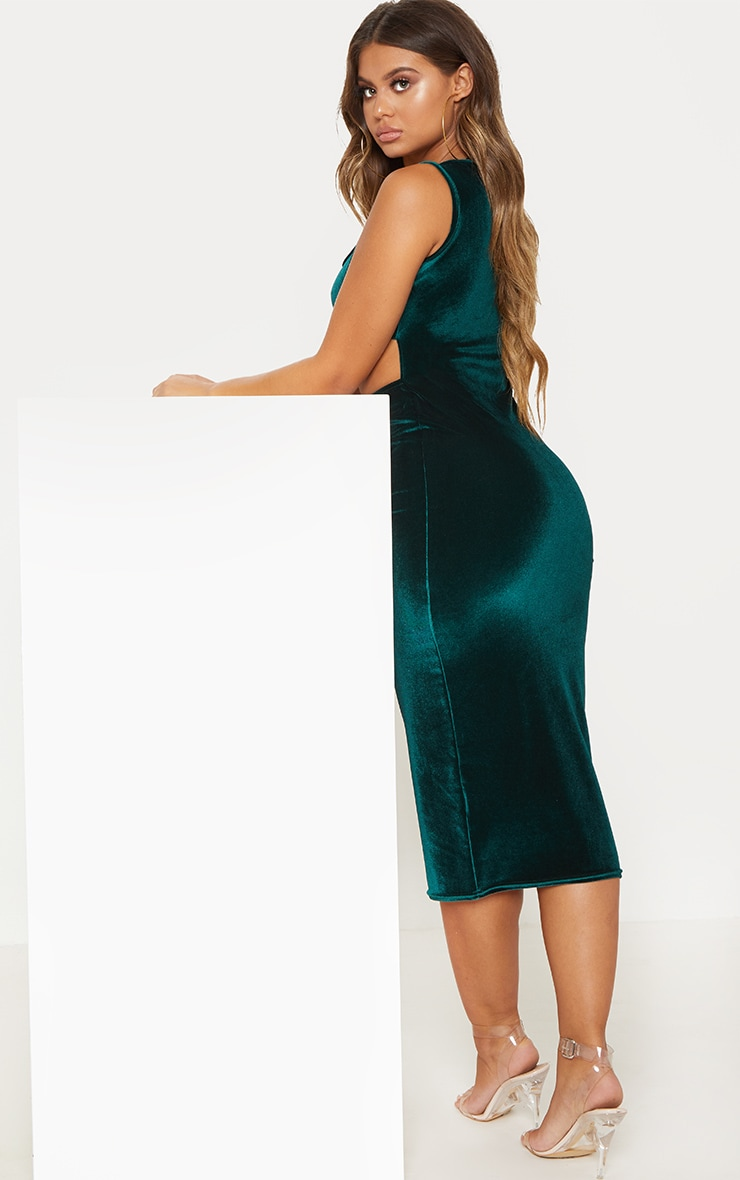 Emerald Green Velvet Cut Out Midaxi Dress 2