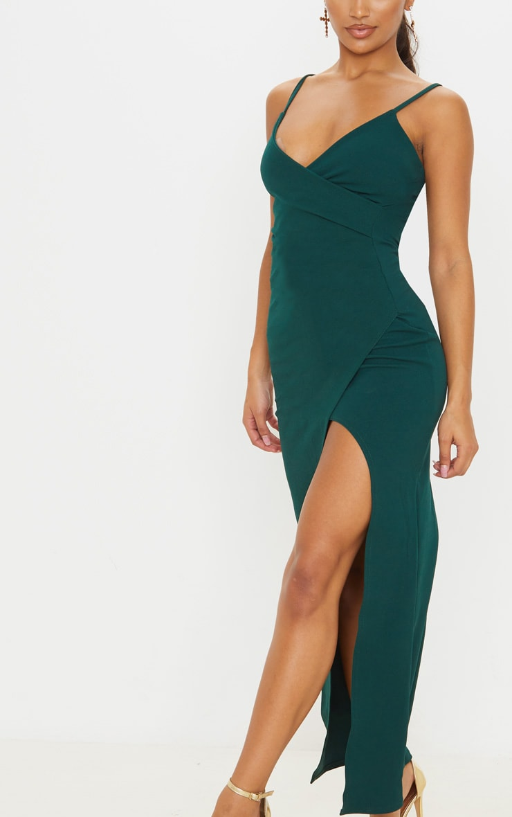 Emerald Green Wrap Front Crepe Maxi Dress 6