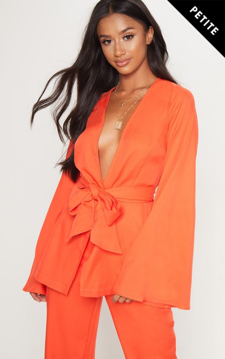 Petite Orange Belt Detail Blazer