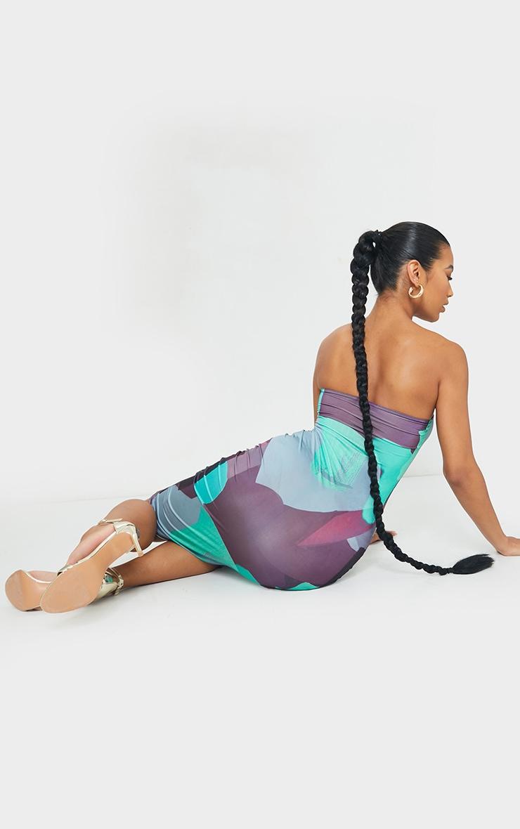 Multi Abstract Printed Slinky Bandeau Midi Dress 2