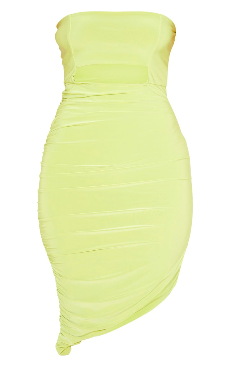 Lime Slinky Cut Out Bardot Ruched Midi Dress 3