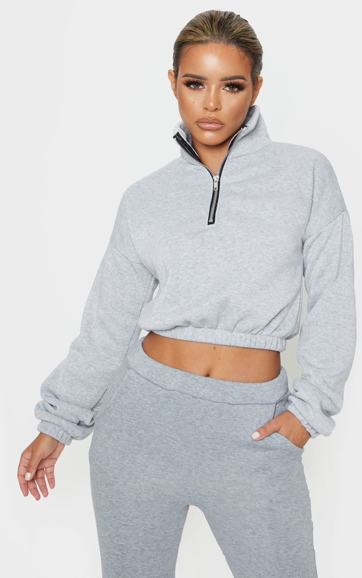 Petite - Sweat gris à demi zip 1