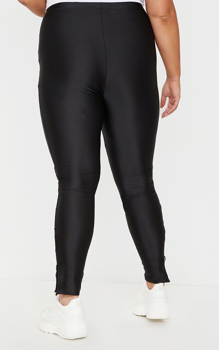 Plus Black Zip Hem Disco Leggings 3