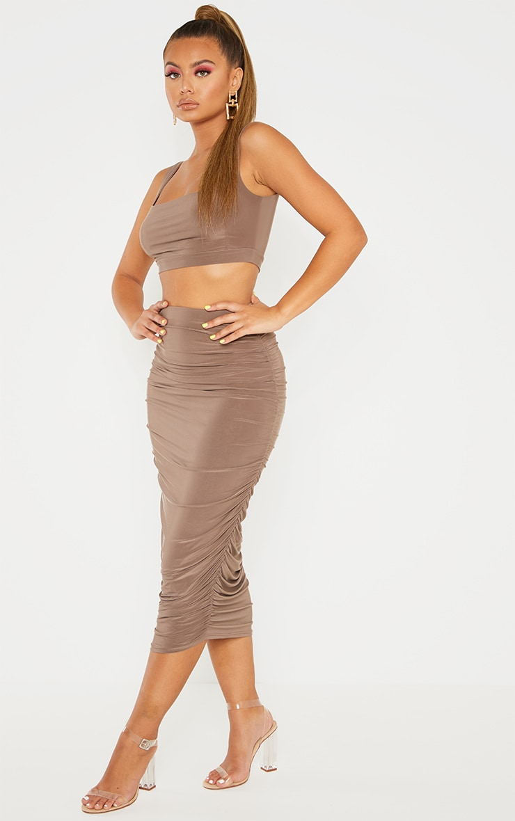Taupe Slinky Second Skin Ruched Midi Skirt 1